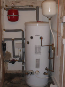 Example of unvented hot water cylinder